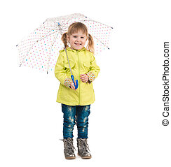 funny little girl holding umbrella in hand