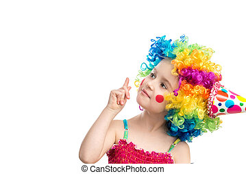 Funny little girl in multicolored wig