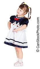 Funny little girl on white background
