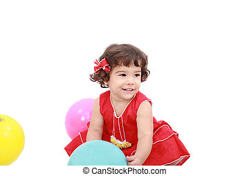 funny little girl playing, isolated on white