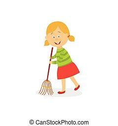 Funny little girl sweeping floor with big broom