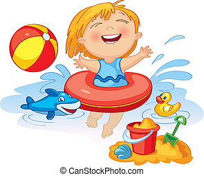 Funny little girl swims in a sea in an red life preserver....