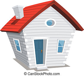 Funny Little House - Illustration of a funny cartoon white...