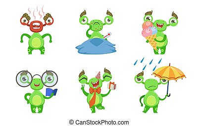 Funny Little Monster with Various Emotions Set, Cute Green Mutant Cartoon Character in Different Situations Vector Illustration