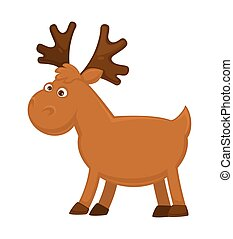 Funny little moose with big branchy horns and small tail
