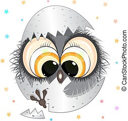funny little owl in egg. cartoon vector illustration.