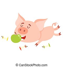 Funny little pig lying and eating apple, three stumps around...