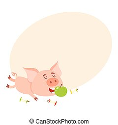 Funny little pig lying and eating apple, three stumps around