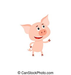 Funny little pig standing on two legs and looking up
