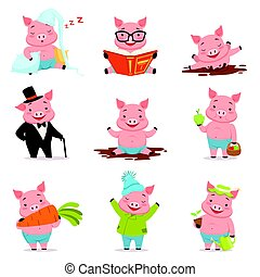 Funny little pigs in different situations set.