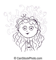 Funny little princess sketch for your design