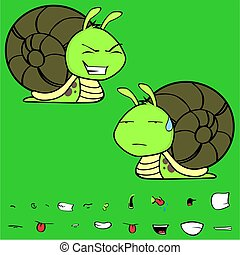 funny little snail cartoon expressions set