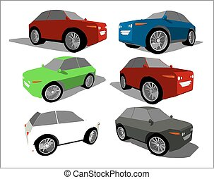 Funny little super car in various positions and colors.