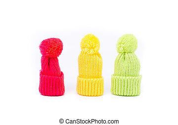 funny little winter hats - three little winter hats in...