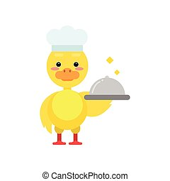 Funny little yellow duckling chef holding silver cloche cartoon character vector illustration