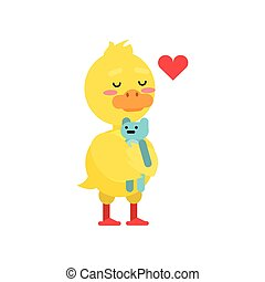 Funny little yellow duckling playing with blue teddy bear cartoon character vector illustration