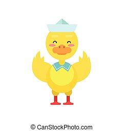 Funny little yellow duckling sailor cartoon character vector illustration