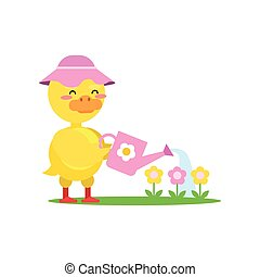Funny little yellow duckling wearing pink hat watering flowers from a watering can cartoon character vector illustration
