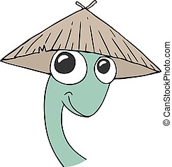 funny lizard face with kasa hat