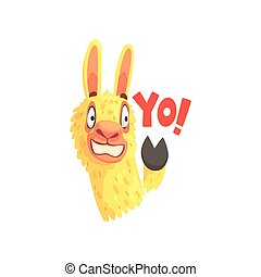 Funny llama character waving its hoof saying Yo, cute alpaca...
