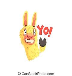 Funny llama character waving its hoof saying Yo, cute alpaca...