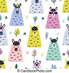 Funny llama faces seamless pattern. Bright background in Scandinavian style with cute lamas