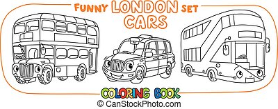 Funny London transport set. Coloring book for kids