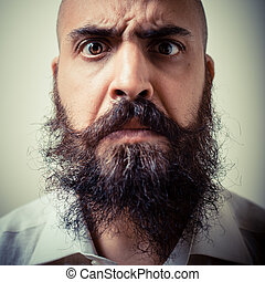 funny long beard and mustache man with white shirt on gray...