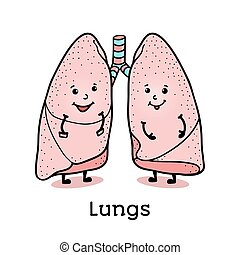 Funny lung character with human face