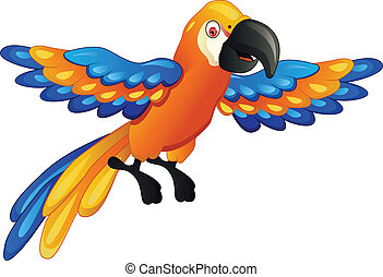 funny macaw cartoon - vector illustration of macaw cartoon
