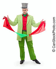 Funny magician in a green suit on a white background