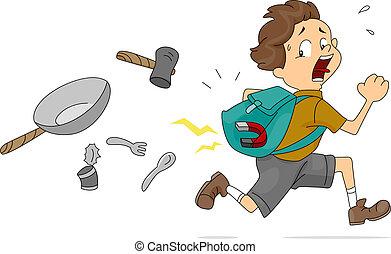 Illustration of Boy With a Magnet Inside His Bag