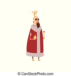 Funny mald king character in red mantle holding orb and scepter cartoon vector Illustration