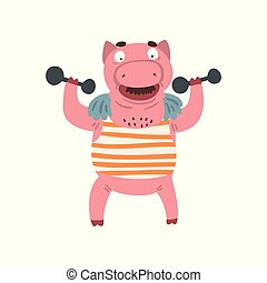 Funny male pig exercising with dumbbells, farm animal cartoon character doing sport exercise vector Illustration