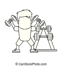 Funny man avatar with dumbbells in black and white