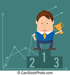 Funny man businessman in cartoon style win with a cup victory. Vector illustration