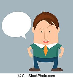 Funny man businessman in cartoon style with a speech bubble. Vector illustration
