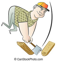 Funny man chopping wood.