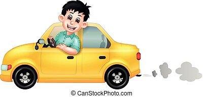 Funny Man Driving Yellow Car Cartoon