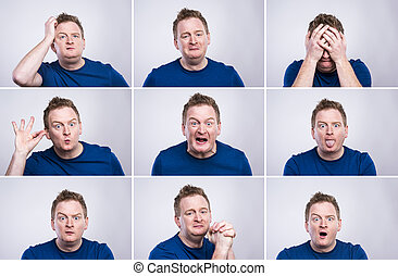 Funny man - Funny young adult showing his emotions ...