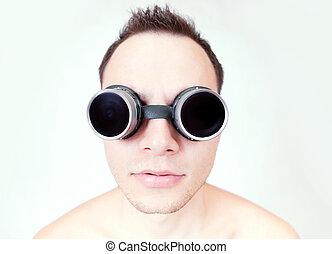 funny man in glasses