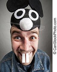 Funny man in rabbit hat