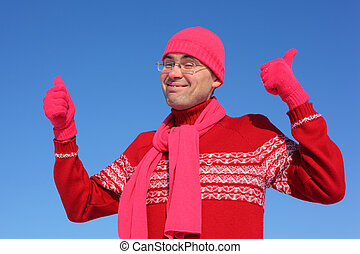 Funny man in red gloves and scarf