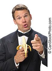Funny man in tuxedo