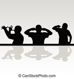 funny man in various poses silhouette