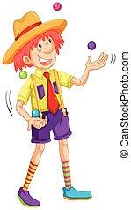 Funny man juggling balls