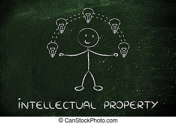 funny man juggling ideas, concept of intellectual property -...