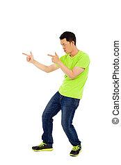 funny man make a hand gun gesture
