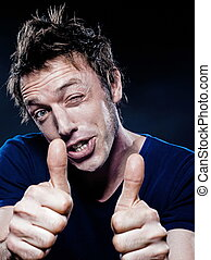 Funny Man Portrait winking thumb up