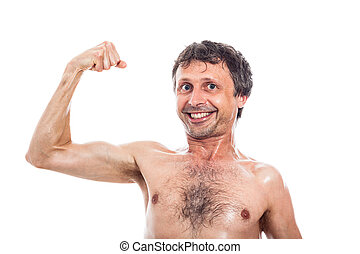 Funny man showing biceps